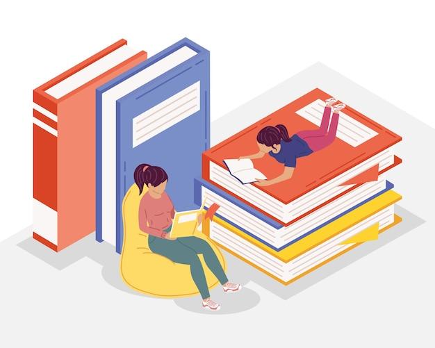 Junge weibliche leser, die bücher lesen, buch-tagesfeier-illustrationsdesign