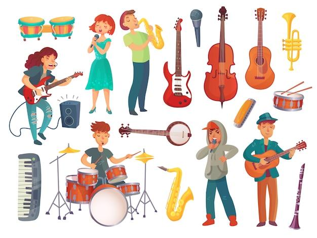 Junge weibliche und männliche sänger der karikatur mit mikrophonen und musikercharakteren mit musikinstrumenten