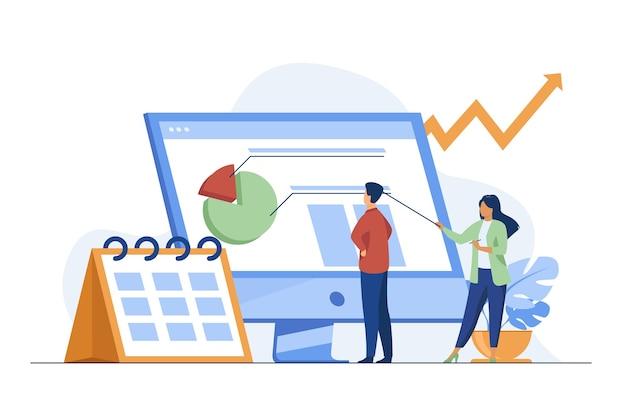 Junge winzige analysten bereiten monatlichen bericht vor. kalender, diagramm, pfeil flache vektorillustration. statistik und digitale technologie