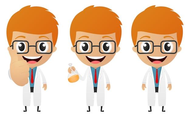Junge wissenschaftler cartoon sammlungssatz