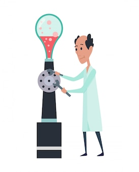 Junge wissenschaftler charaktere im labor. doktorforschung in einem laborlabor. professor in arbeit. stereotyp des wissenschaftlers. illustration lokalisiert auf weißem hintergrund