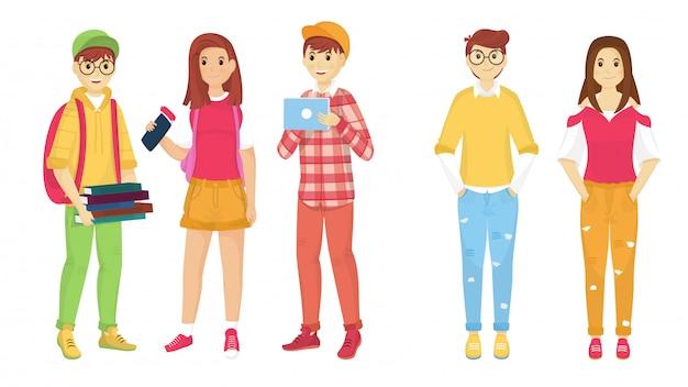 Junge zeichentrickfilm-figur von studenten in stehender haltung