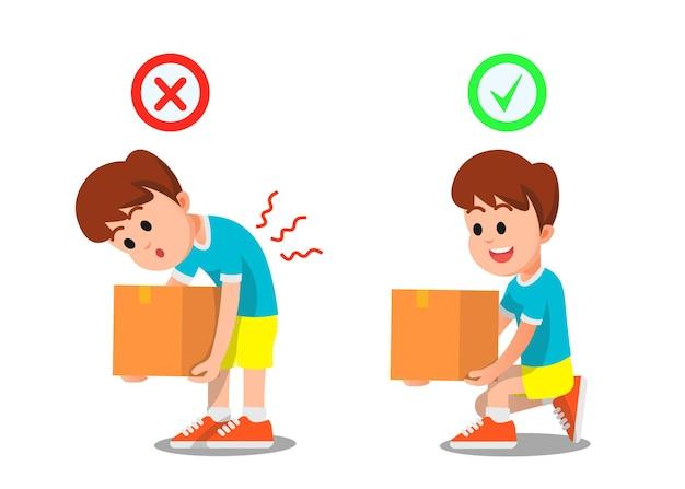 Junge zeigt, wie man schwere gegenstände richtig und falsch hebt