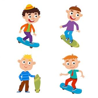 Jungen auf skateboard lokalisiertem satz