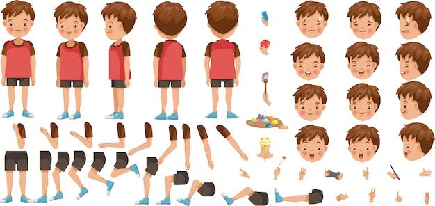 Jungen-charaktererstellungssatz. symbole mit verschiedenen arten von gesichtern und frisur, emotionen, vorder-, rückseite, seitenansicht der männlichen person.