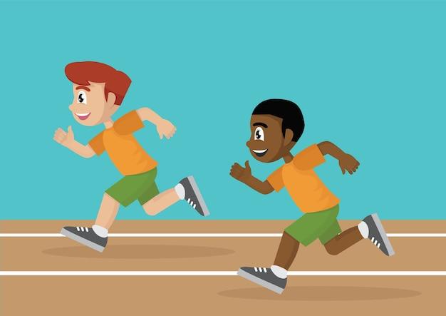 Jungen, die eine rennstrecke laufen lassen.