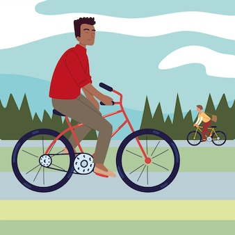 Jungen, die fahrrad fahren