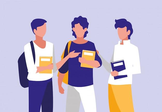Jungen, die mit notizbüchern modellieren
