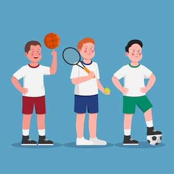 Jungen, die pet-ausrüstungs-sport-tätigkeit in der schulkarikatur tragen