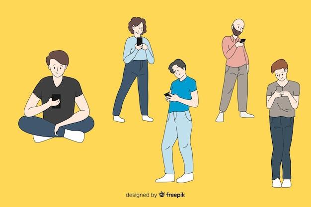 Jungen, die smartphones in der koreanischen zeichnungsart halten