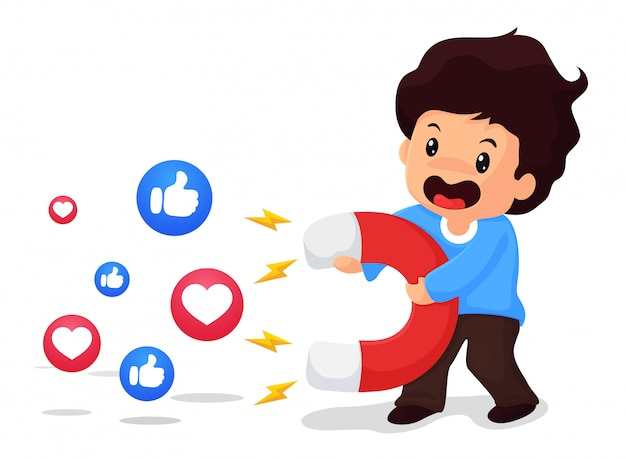 Jungen halten große magneten in der hand, um zuschauer in den sozialen medien anzulocken