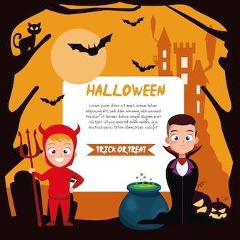 Jungen im halloween-vampir- und teufelskostüm mit fahnenentwurf, feiertag und gruseligem thema