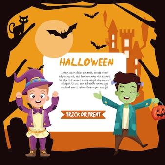 Jungen im halloween-zauberer- und frankenstein-kostüm mit fahnenentwurf, feiertag und gruseligem thema