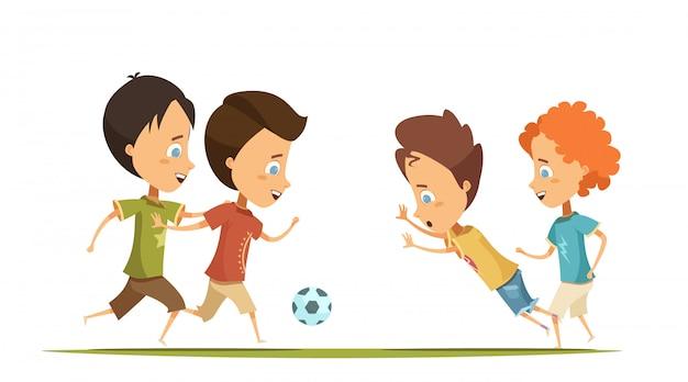 Jungen in bunter kleidung mit emotionen auf gesichtern