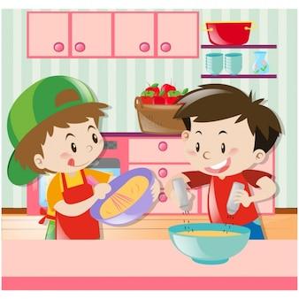 Jungen in der küche kochen