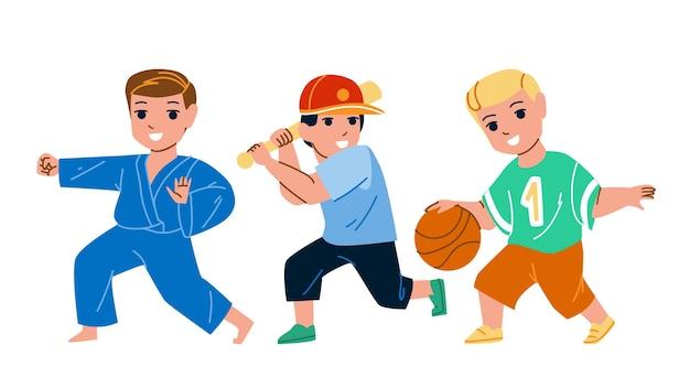 Jungen kinder spielen und trainieren sportspiel. kleine schüler trainieren karate, spielen baseball und basketball sportspiel mit ball
