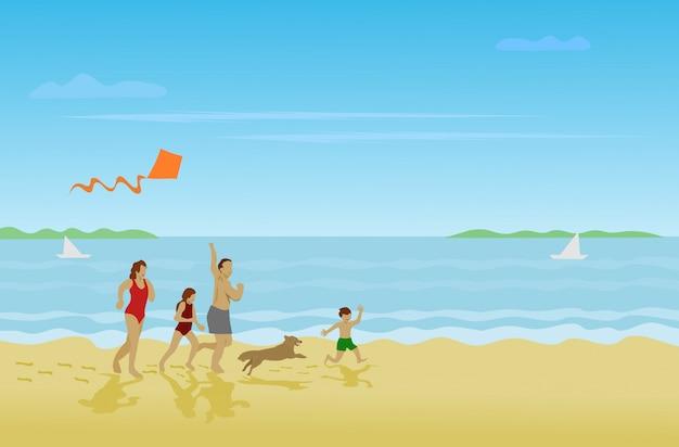 Jungen laufen am strand