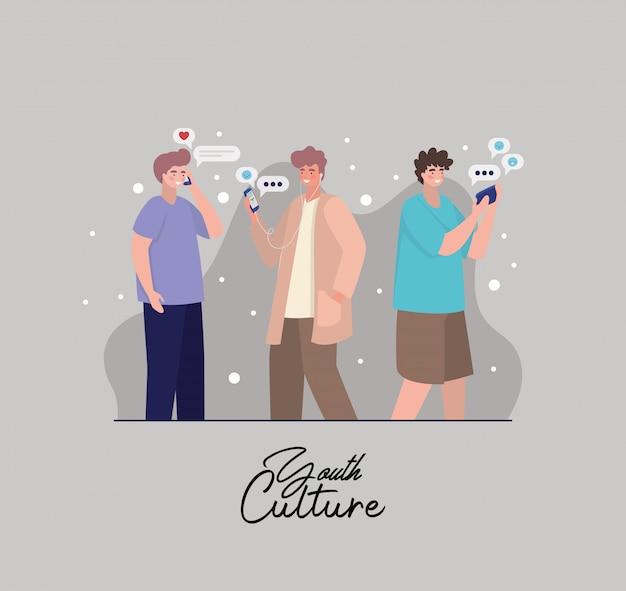 Jungen mit smartphones und blasen design, jugendkultur menschen coole person menschliches profil und benutzerthema