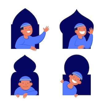 Jungen-moslemischer flacher charakter, der in das fenster lugt