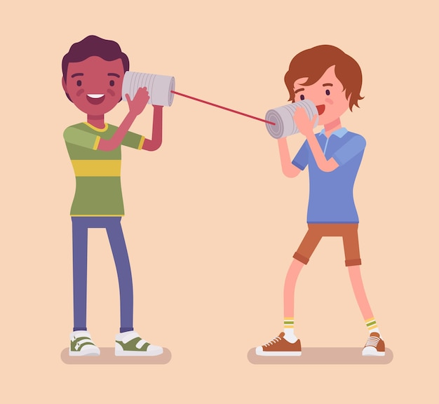 Jungen sprechen per blechdose telefonieren