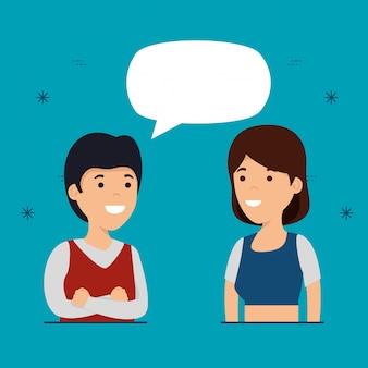 Jungen und freundinnen mit sprechblase