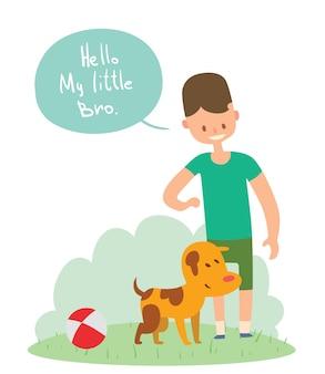 Jungen- und hundefreund-vektorillustration