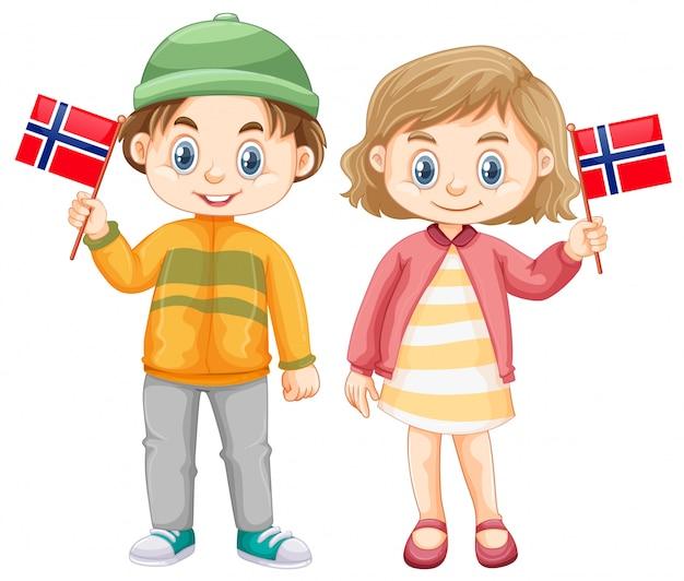 Jungen und mädchen, die flagge von norwegen halten