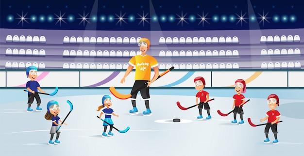 Jungen und mädchen, die hockey auf eisbahn-vektor spielen.