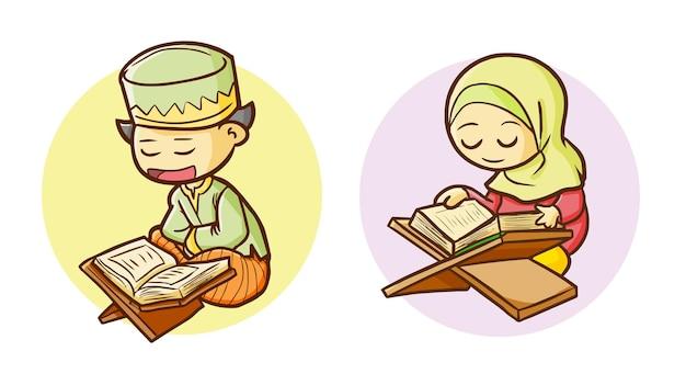Jungen und mädchen, die koran im ramadan im einfachen gekritzelstil lesen