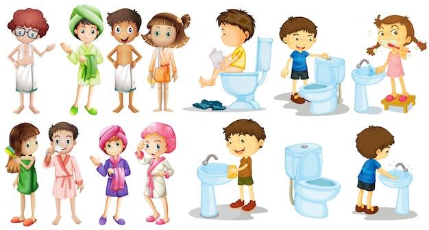 Jungen und mädchen in bademantel illustration