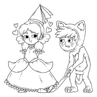 Jungen und mädchen in halloween-kostümen prinzessin und katze.