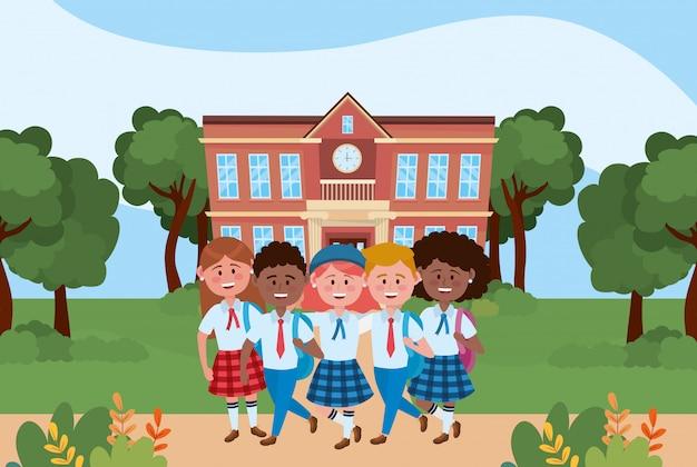 Jungen und mädchen kinder der schule