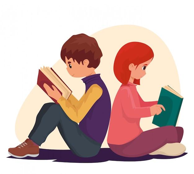 Jungen und mädchen lesen buch