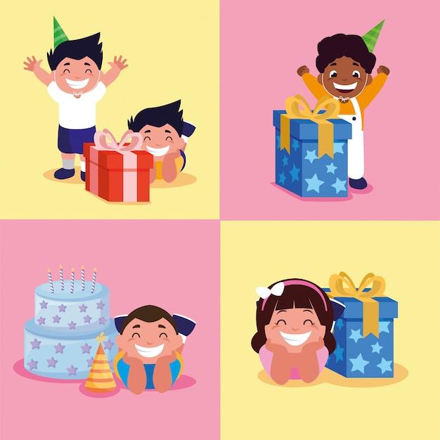 Jungen und mädchen mit alles gute zum geburtstagkuchen und -geschenken