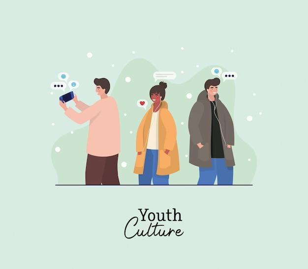 Jungen und mädchen mit smartphones und blasen