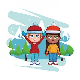 Jungen und mädchen mit winterkleidung