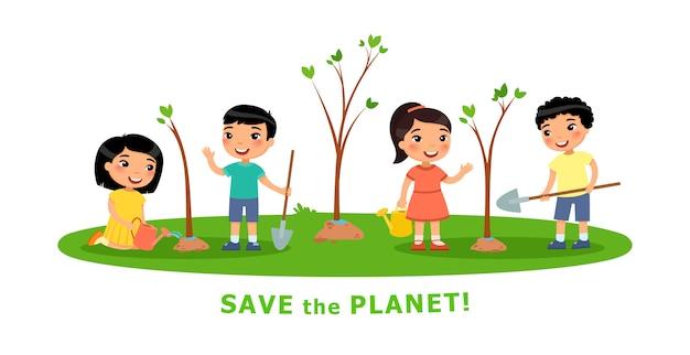 Jungen und mädchen pflanzten bäume