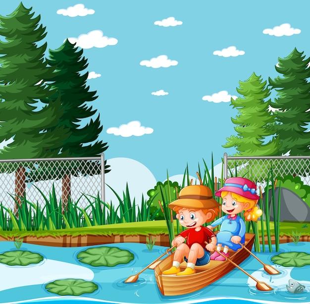Jungen und mädchen rudern das boot im naturpark