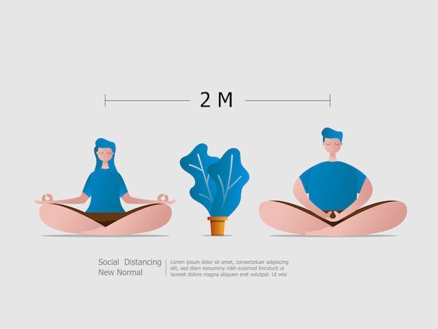 Jungen und mädchen sitzen meditation mit sozialer distanzierung