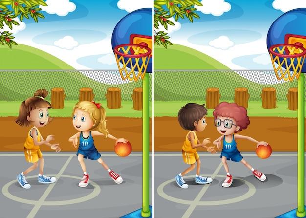 Jungen und mädchen spielen basketball