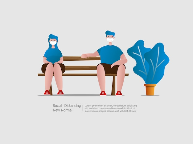 Jungen und mädchen tragen gesichtsmaske und sitzen mit sozialer distanzierung