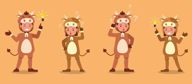 Jungen und mädchen tragen kuhkostüme charakter. präsentation in verschiedenen aktionen mit emotionen.