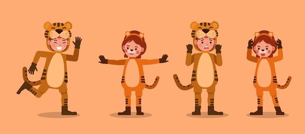 Jungen und mädchen tragen tiger kostüme charakter. präsentation in verschiedenen aktionen mit emotionen.