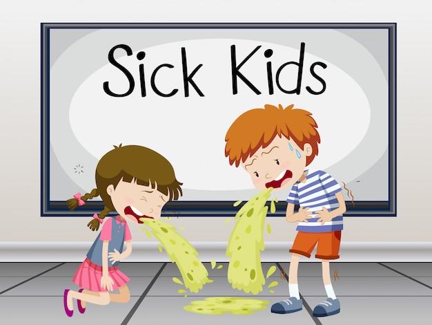 Jungen und mädchen werden krank