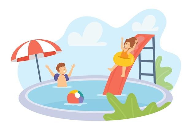 Jungen- und mädchenfiguren in badebekleidung, die im schwimmbad spielen. kinder haben spaß im sommerurlaub. kinder auf ringen