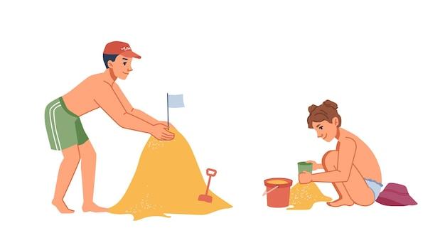 Jungen- und mädchenkinder, die sandburg am sommerseestrand bauen, lokalisierte flache zeichentrickfilm-figurenvektor