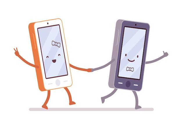 Jungen- und mädchensmartphones gehen, eine hand halten