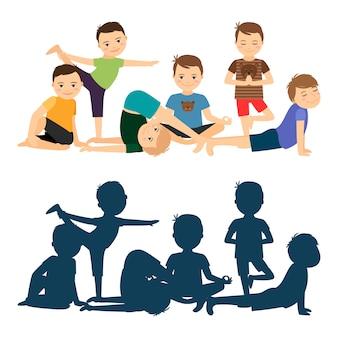 Jungen yoga training Premium Vektoren