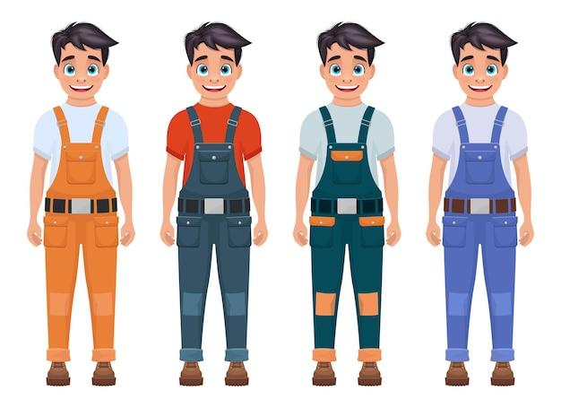 Jungenarbeiterillustration lokalisiert auf weiß