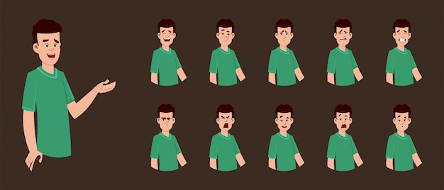 Jungencharakter mit unterschiedlichem gesichtsausdruck für ihr design, bewegung oder animation.
